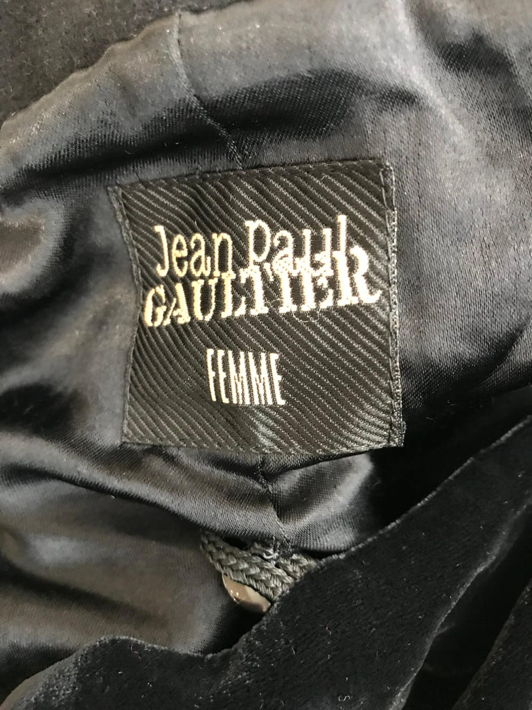 Jean Paul Gaultier Black Wool Coat with Silk Velvet Layer and Hood For Sale 10