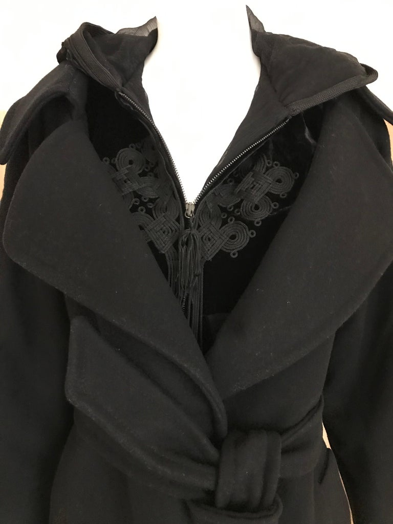 Jean Paul Gaultier Black Wool Coat with Silk Velvet Layer and Hood In Excellent Condition For Sale In Beverly Hills, CA