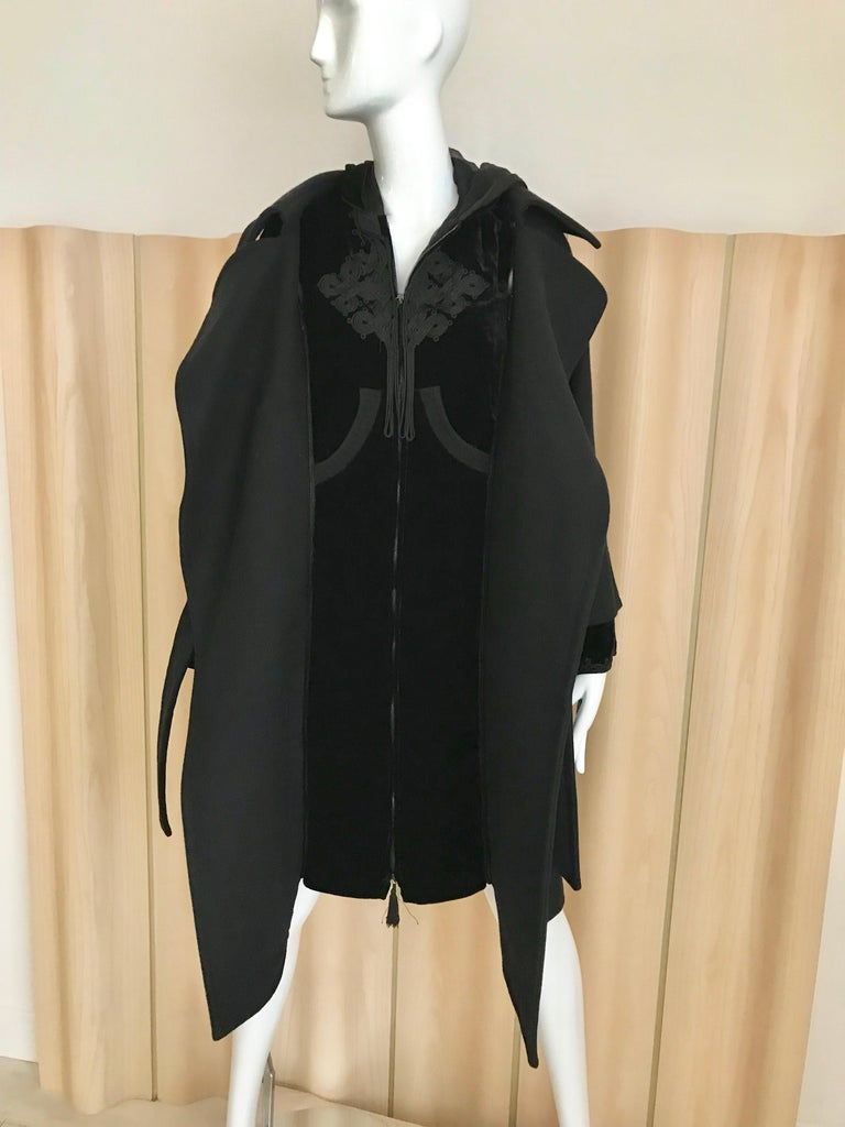 Women's Jean Paul Gaultier Black Wool Coat with Silk Velvet Layer and Hood For Sale