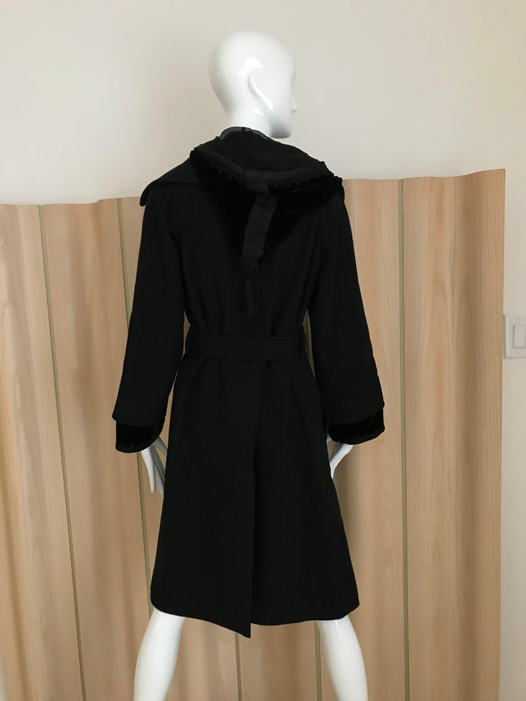 Jean Paul Gaultier Black Wool Coat with Silk Velvet Layer and Hood For Sale 1