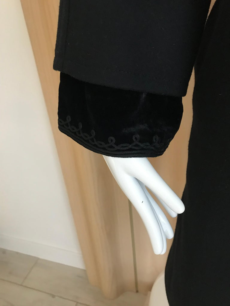 Jean Paul Gaultier Black Wool Coat with Silk Velvet Layer and Hood For Sale 2