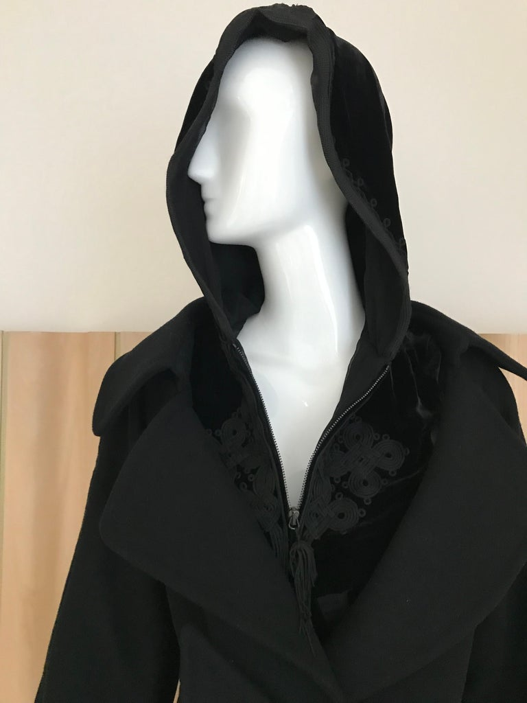 Jean Paul Gaultier Black Wool Coat with Silk Velvet Layer and Hood For Sale 3
