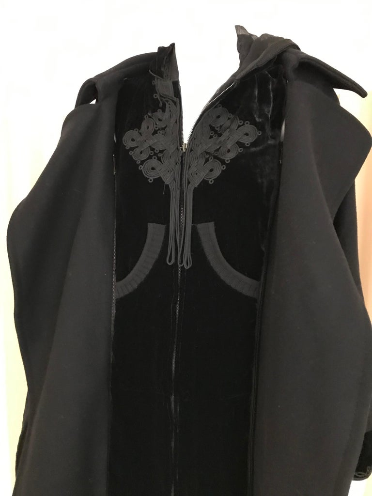 Jean Paul Gaultier Black Wool Coat with Silk Velvet Layer and Hood For Sale 5