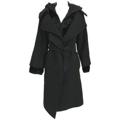 Jean Paul Gaultier Black Wool Coat with Silk Velvet Layer and Hood