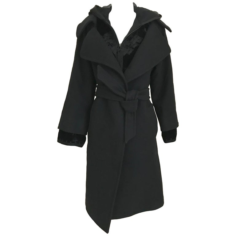 Jean Paul Gaultier Black Wool Coat with Silk Velvet Layer and Hood For Sale