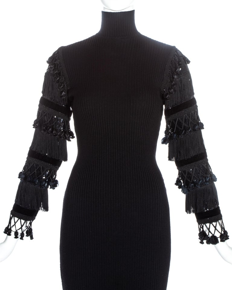 Black Jean Paul Gaultier black wool dress with tasseled and sequin sleeves, fw 1985 For Sale