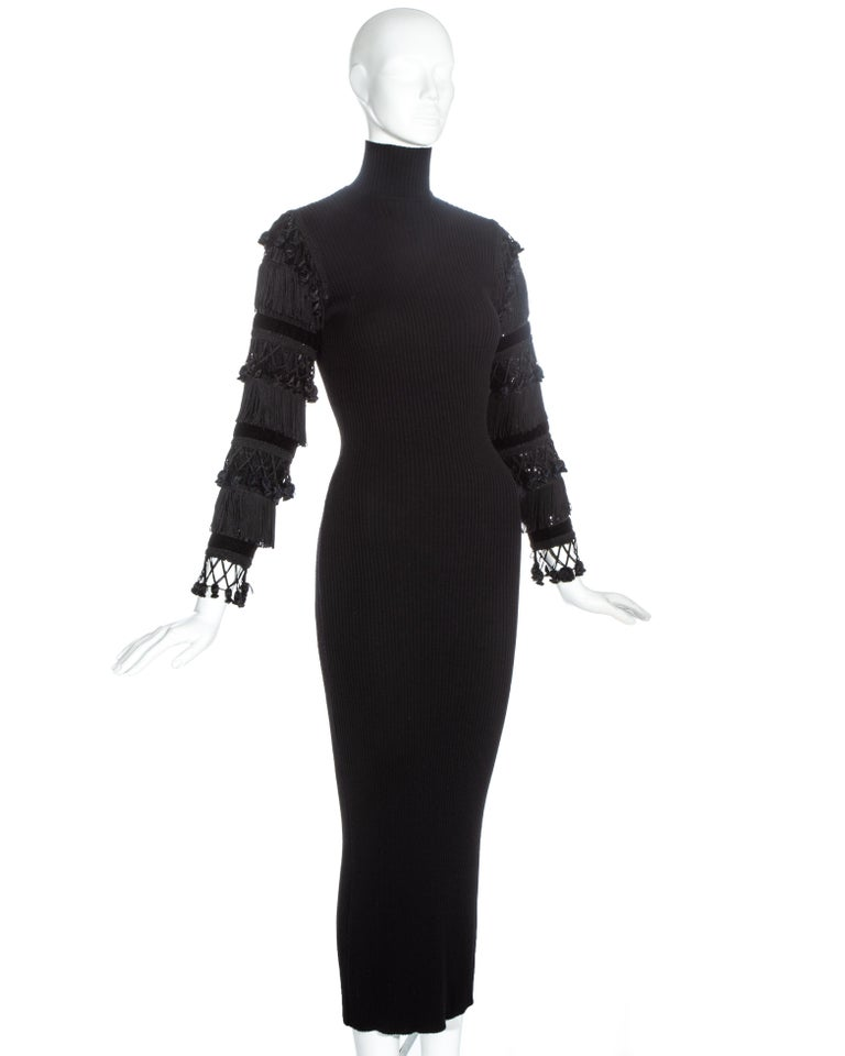 Jean Paul Gaultier black wool dress with tasseled and sequin sleeves, fw 1985 In Good Condition For Sale In London, GB