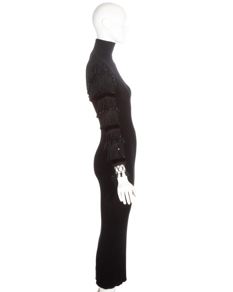 Women's Jean Paul Gaultier black wool dress with tasseled and sequin sleeves, fw 1985 For Sale