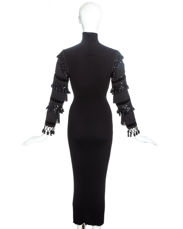 Jean Paul Gaultier black wool dress with tasseled and sequin sleeves, fw 1985 For Sale 2