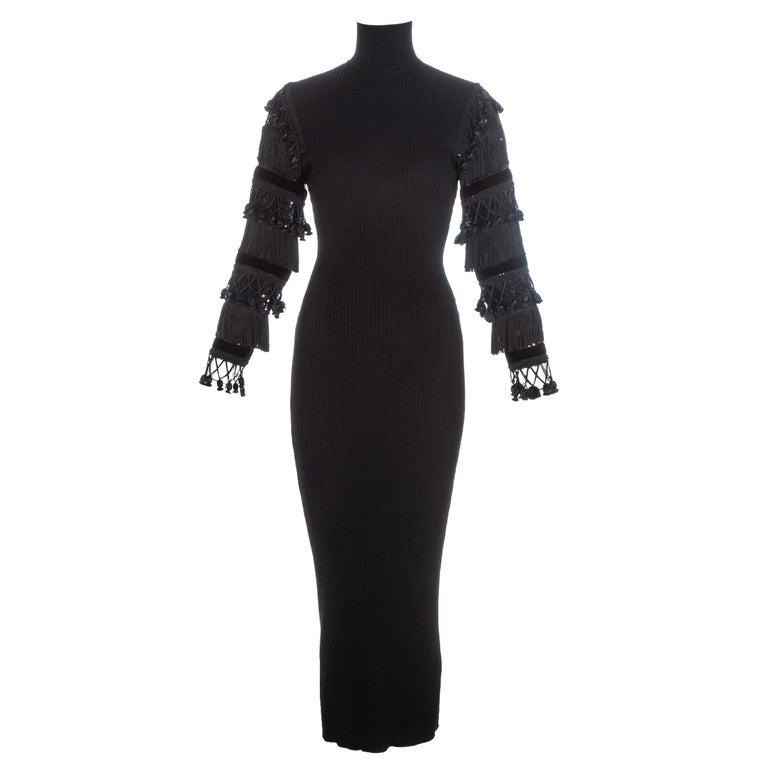 Jean Paul Gaultier black wool dress with tasseled and sequin sleeves, fw 1985 For Sale