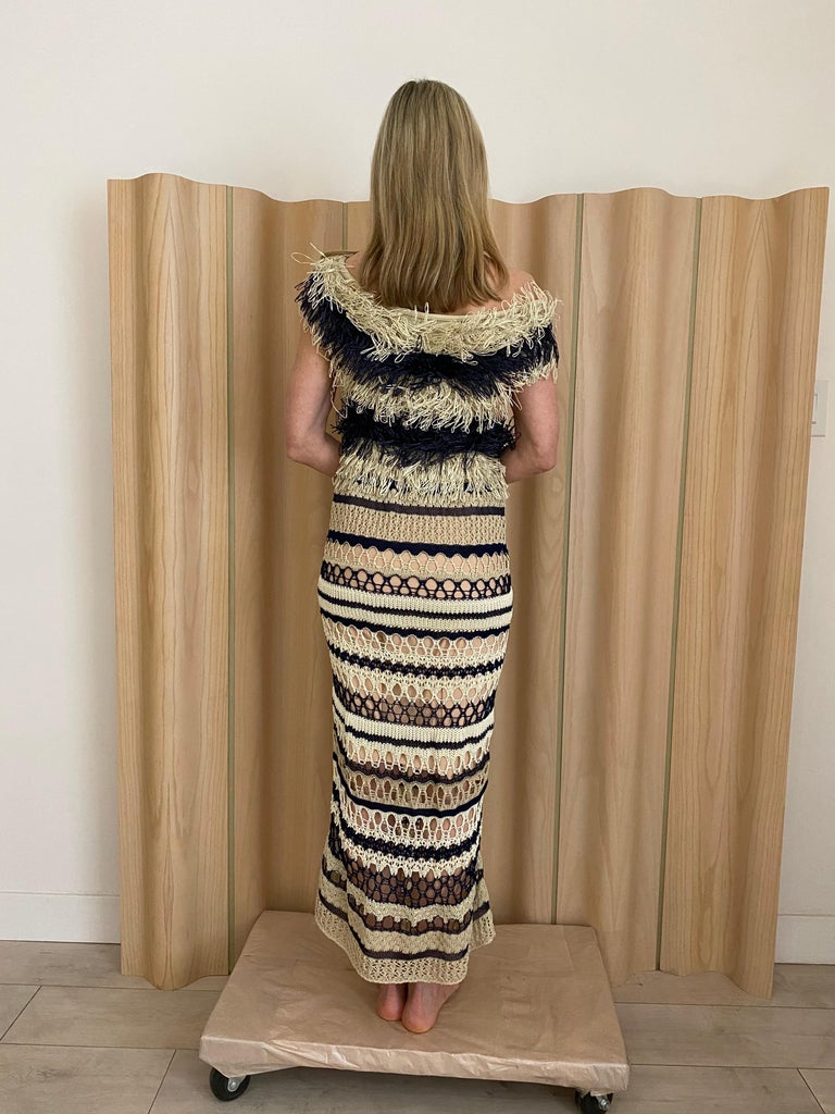 Jean Paul Gaultier blue and creme raffia knit crochet dress For Sale 5
