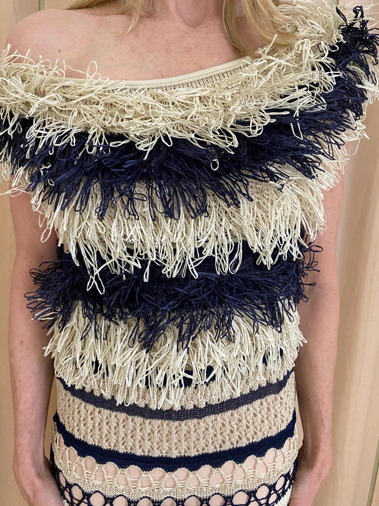 Jean Paul Gaultier blue and creme raffia knit crochet dress For Sale 6