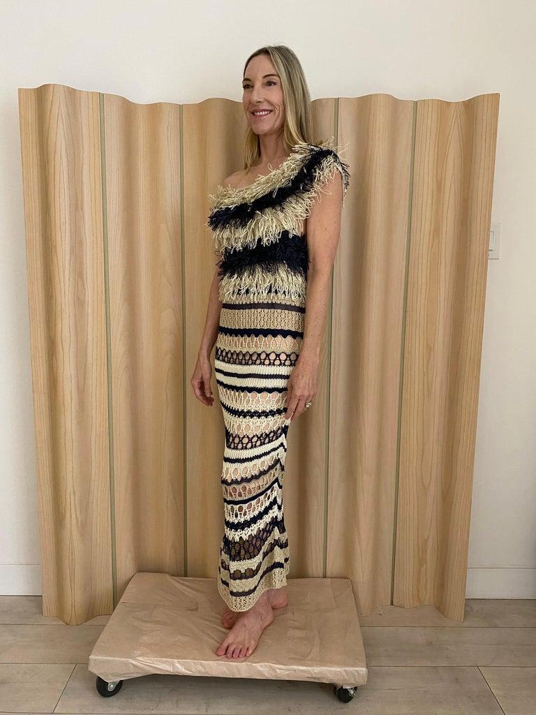 Jean Paul Gaultier blue and creme raffia knit crochet dress For Sale 2