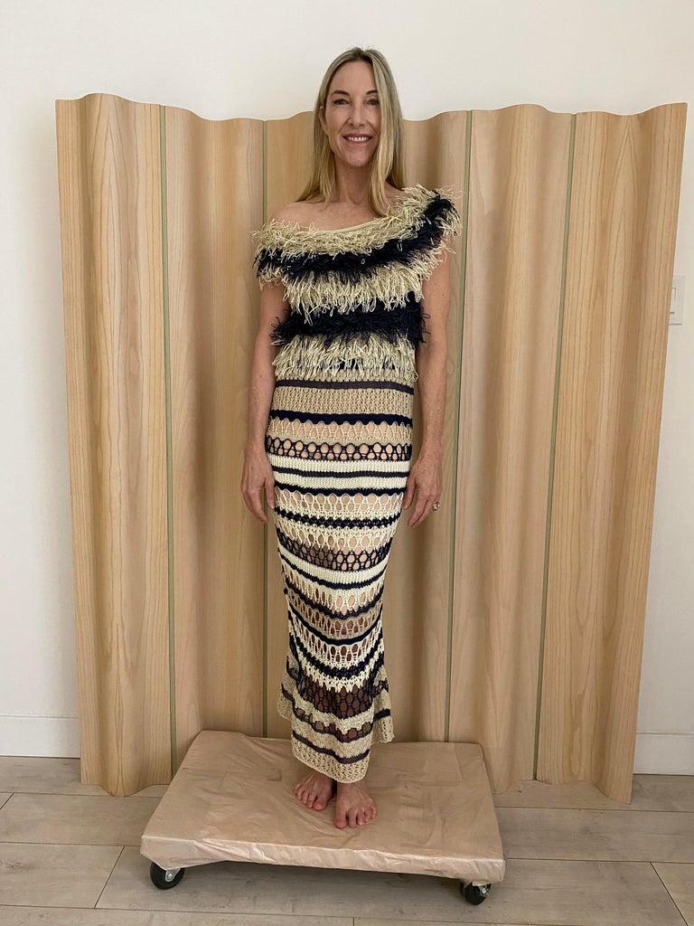 Jean Paul Gaultier blue and creme raffia knit crochet dress For Sale 3