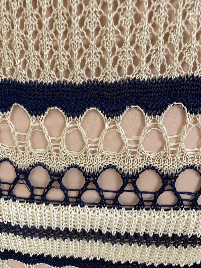 Jean Paul Gaultier blue and creme raffia knit crochet dress For Sale 4