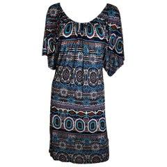 Jean Paul Gaultier Blue, Black, Orange & Tan Scoop Neck / Off Shoulder Dress