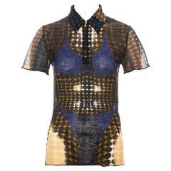 Jean Paul Gaultier blue cyber dots mesh polo shirt, fw 1995