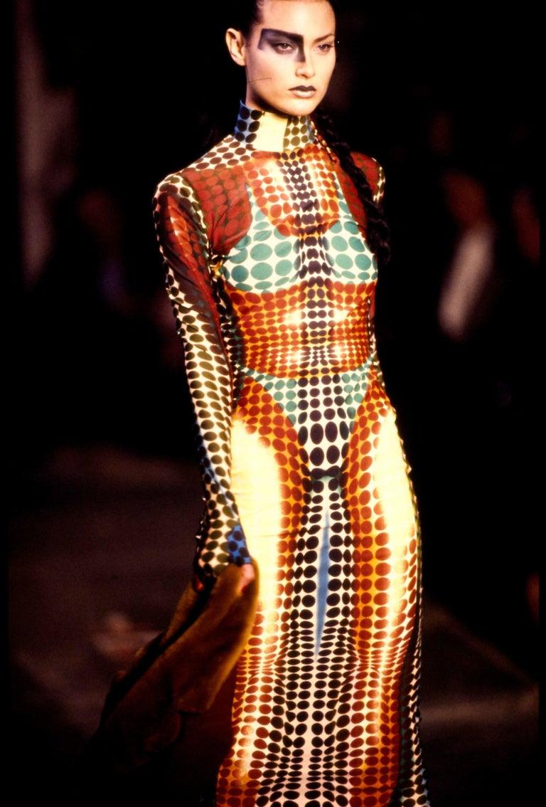 Jean Paul Gaultier blue lycra spandex figure hugging evening dress, fw 1995 For Sale 6
