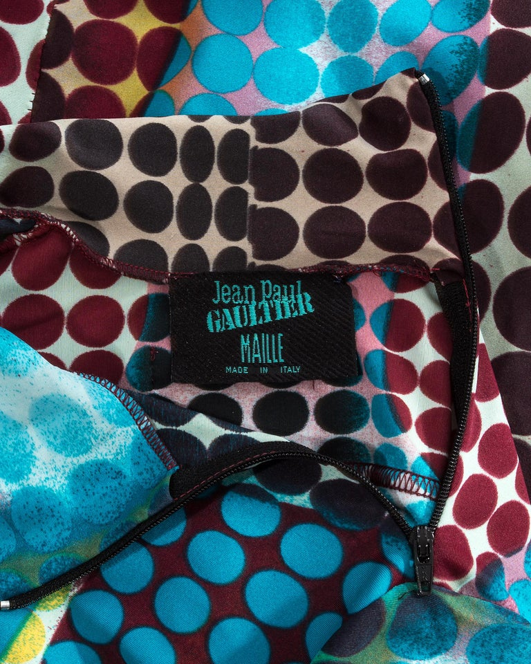 Jean Paul Gaultier blue lycra spandex figure hugging evening dress, fw 1995 For Sale 7