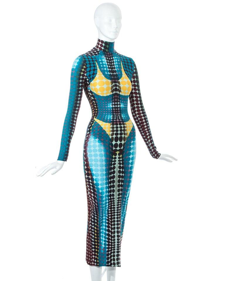 Women's Jean Paul Gaultier blue lycra spandex figure hugging evening dress, fw 1995 For Sale