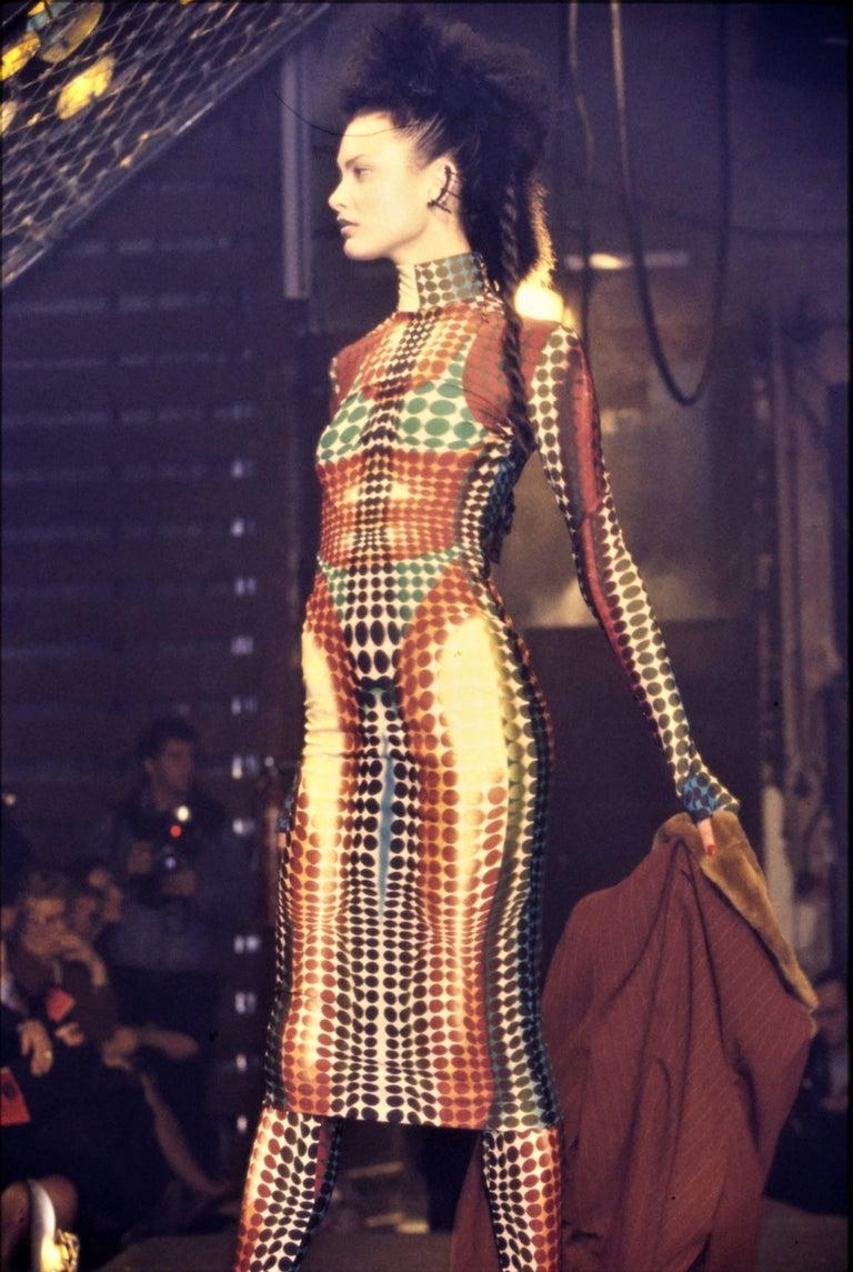Jean Paul Gaultier blue lycra spandex figure hugging evening dress, fw 1995 For Sale 1