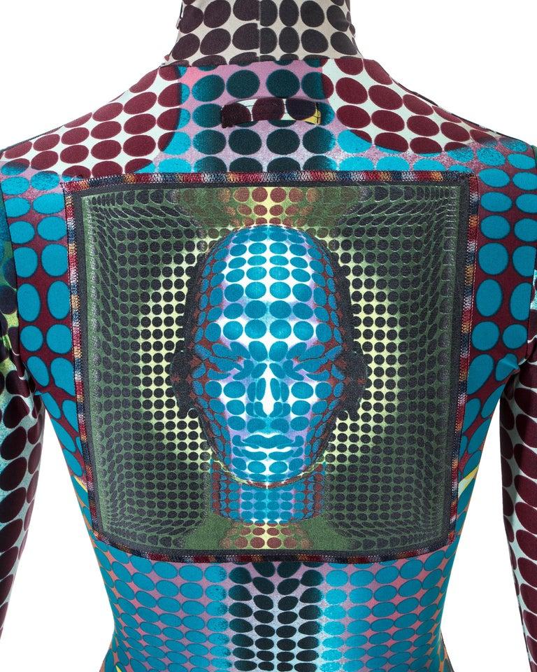 Jean Paul Gaultier blue lycra spandex figure hugging evening dress, fw 1995 For Sale 4