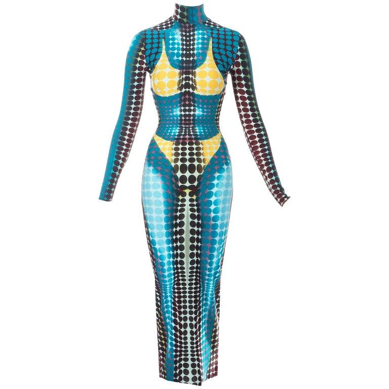 Jean Paul Gaultier blue lycra spandex figure hugging evening dress, fw 1995 For Sale