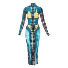 Jean Paul Gaultier blue lycra spandex figure hugging evening dress, fw 1995