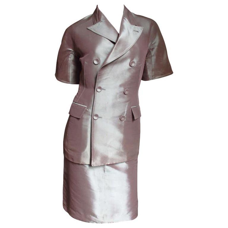 Jean Paul Gaultier Blush Silk Skirt Suit For Sale