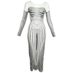 Jean Paul Gaultier body contour printed nylon mesh evening dress, ss 1996
