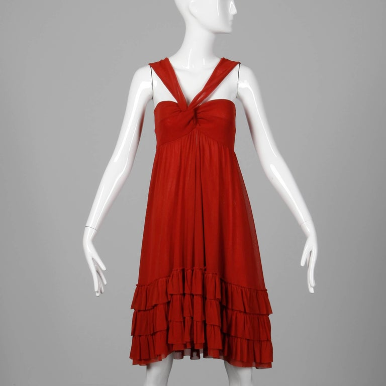 Jean Paul Gaultier Brick Red Mesh Dress with Ruffled Hemline In Excellent Condition For Sale In Sparks, NV