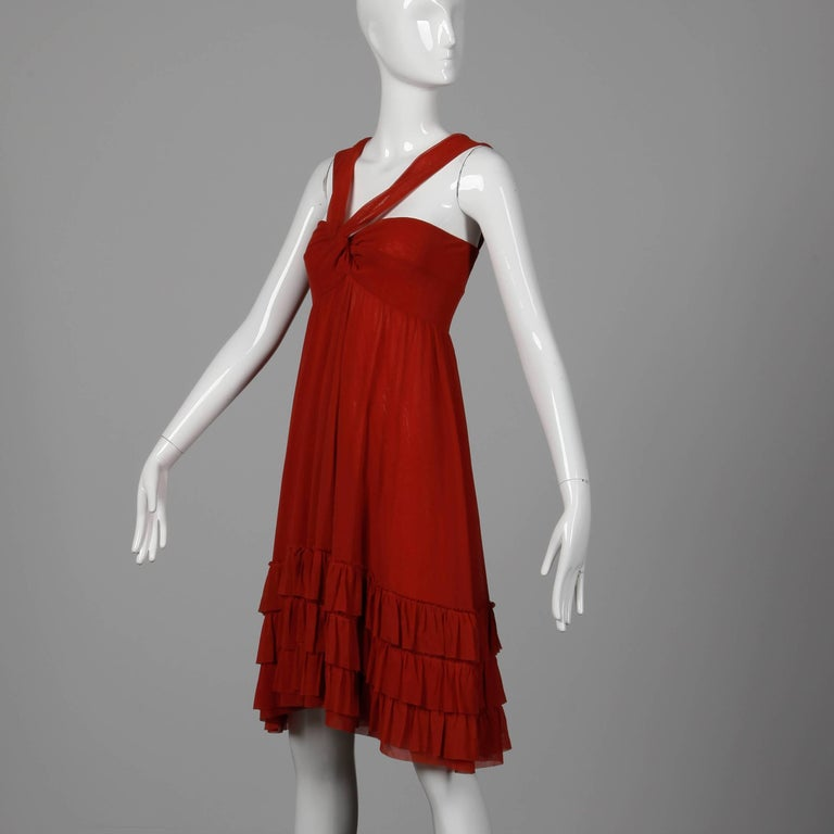 Women's Jean Paul Gaultier Brick Red Mesh Dress with Ruffled Hemline For Sale
