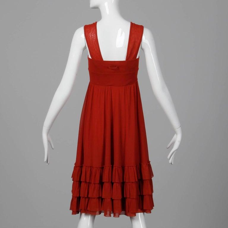 Jean Paul Gaultier Brick Red Mesh Dress with Ruffled Hemline For Sale 1