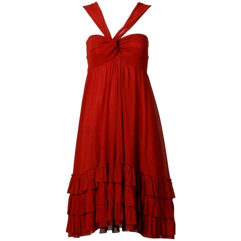 Jean Paul Gaultier Brick Red Mesh Dress with Ruffled Hemline For Sale