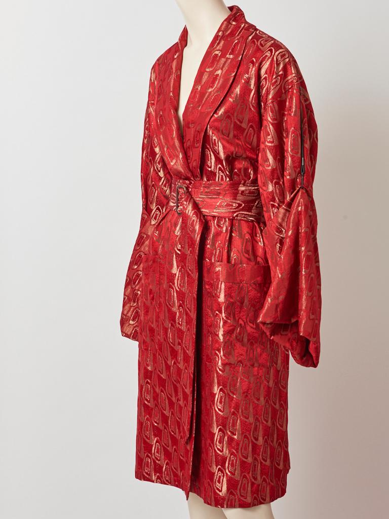 Red Jean Paul Gaultier Brocade Belted Kimono Inspired Coat For Sale