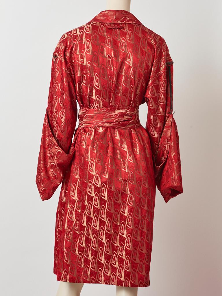 Jean Paul Gaultier Brocade Belted Kimono Inspired Coat In Good Condition For Sale In New York, NY