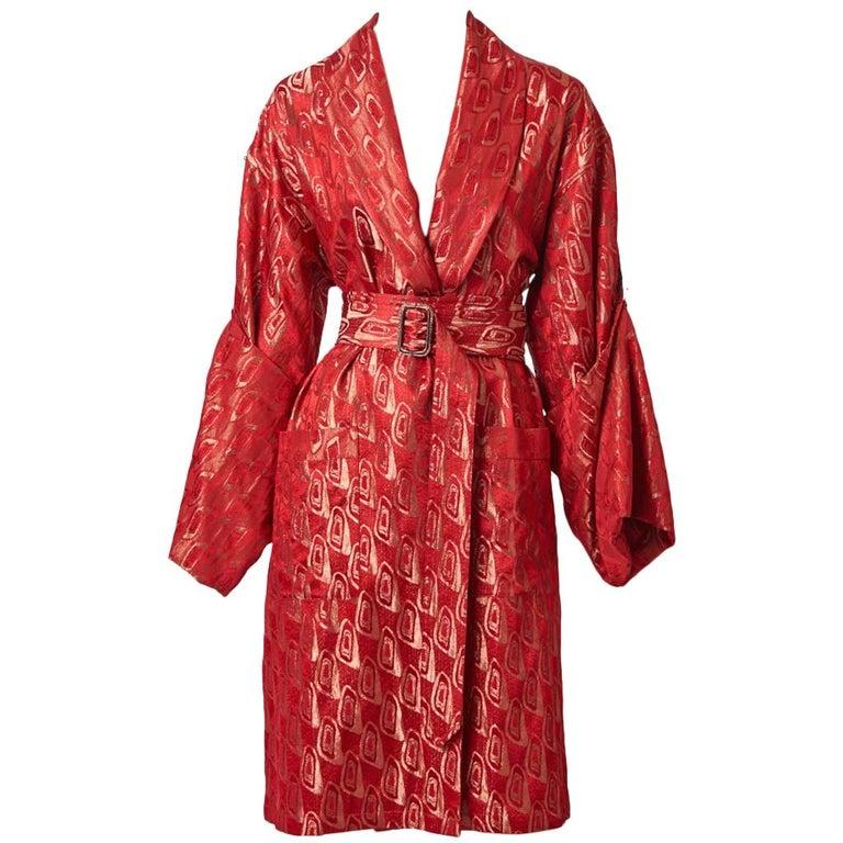 Jean Paul Gaultier Brocade Belted Kimono Inspired Coat For Sale