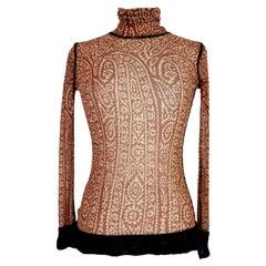 Jean Paul Gaultier Brown Beige Transparent Mesh Shirt
