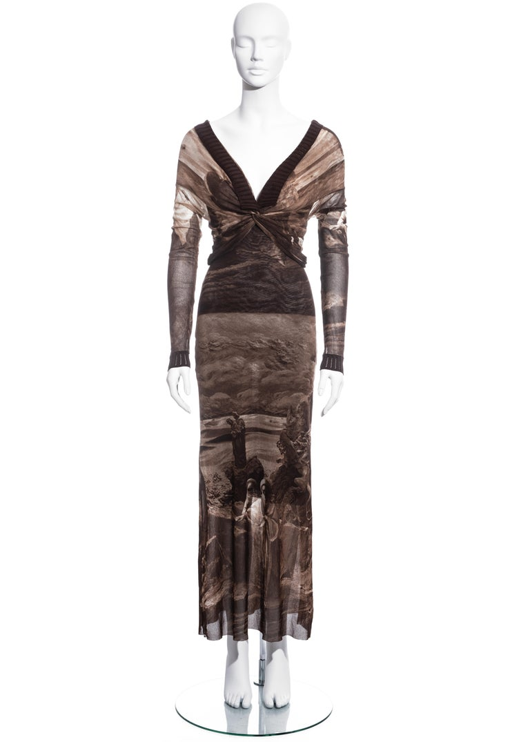 ▪ Jean Paul Gaultier brown nylon mesh maxi dress ▪ Knot detail around bust  ▪ Ribbed collar and cuffs ▪ Off-shoulder ▪ Figure hugging fit  ▪ Approx. Medium (size label missing) ▪ Spring-Summer 1998
