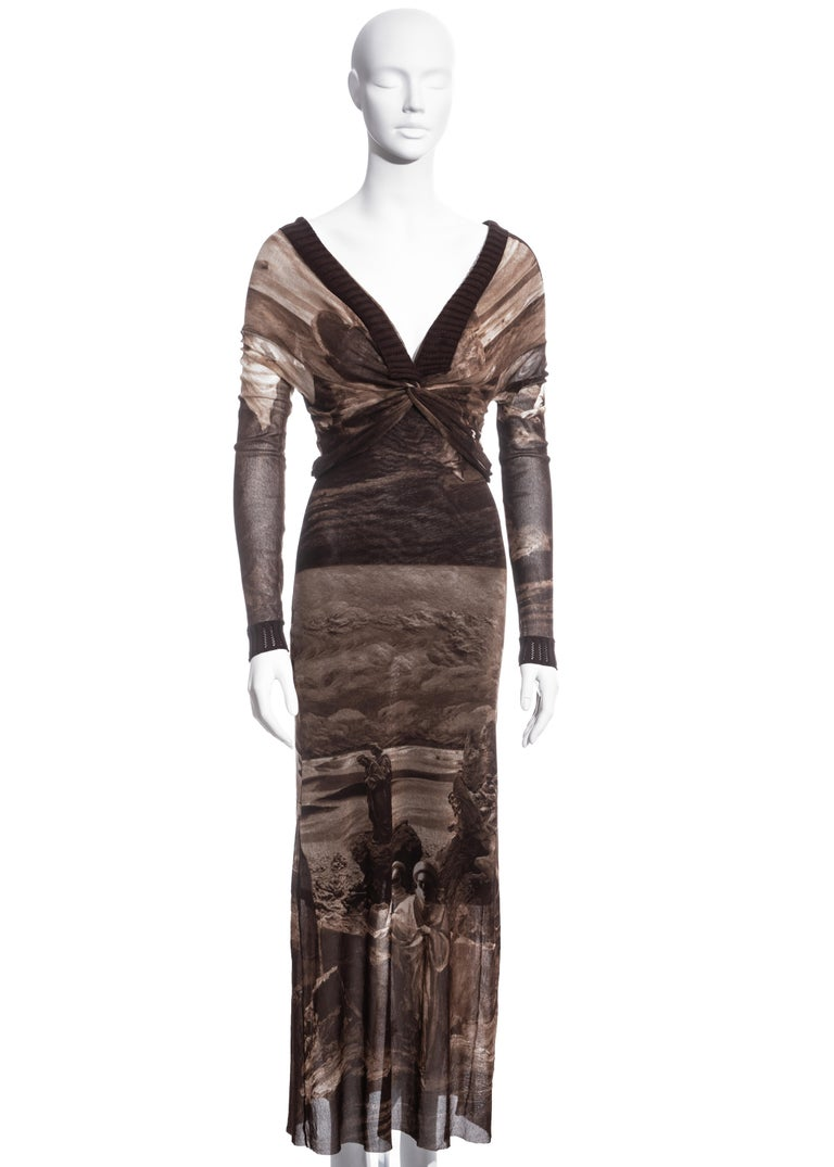 Jean Paul Gaultier brown nylon mesh off-shoulder maxi dress, ss 1998 In Excellent Condition For Sale In London, GB