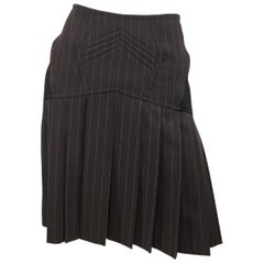 Jean Paul Gaultier Brown Pleated Skirt with Lace Tie