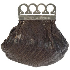 "Jean Paul Gaultier Brown Python "" Brass Knuckles"" Bag"