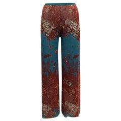 Jean Paul Gaultier Brown & Teal Soleil Mesh Coral Reef Print Pants