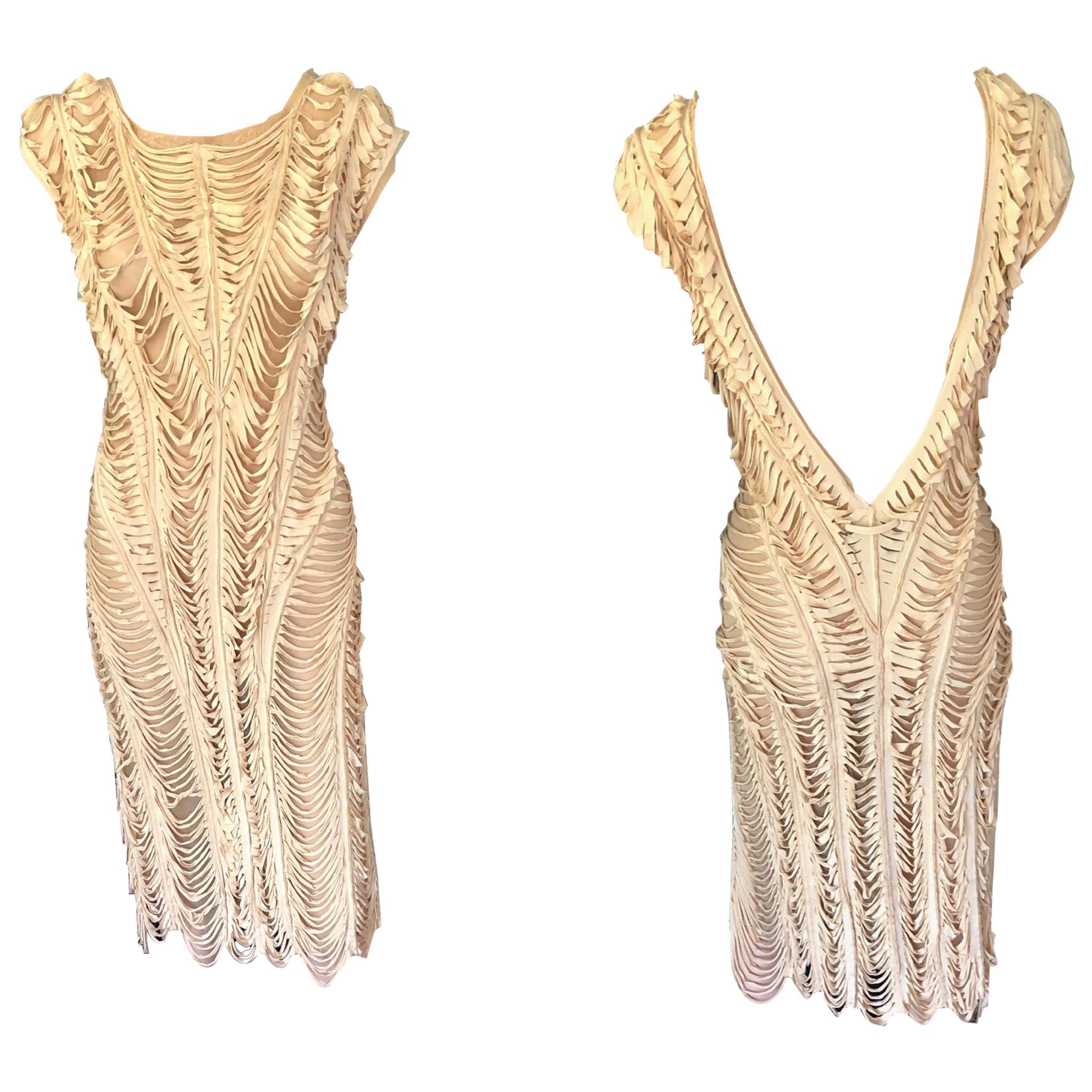 Jean Paul Gaultier c.1990 Vintage Cutout Fringe Mesh Open Back Dress