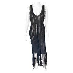 Jean Paul Gaultier c.1990 Vintage Semi-Sheer Fringe Mesh Black Dress