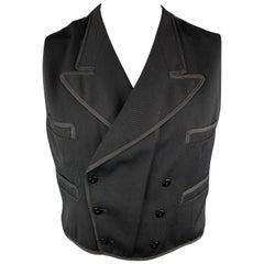 JEAN PAUL GAULTIER Chest Size 44 Black Wool Bull Jacquard Peak Lapel Vest