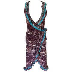 Jean Paul Gaultier Classique 1990's Vintage Tribal Aztec Tattoo Print Wrap Dress
