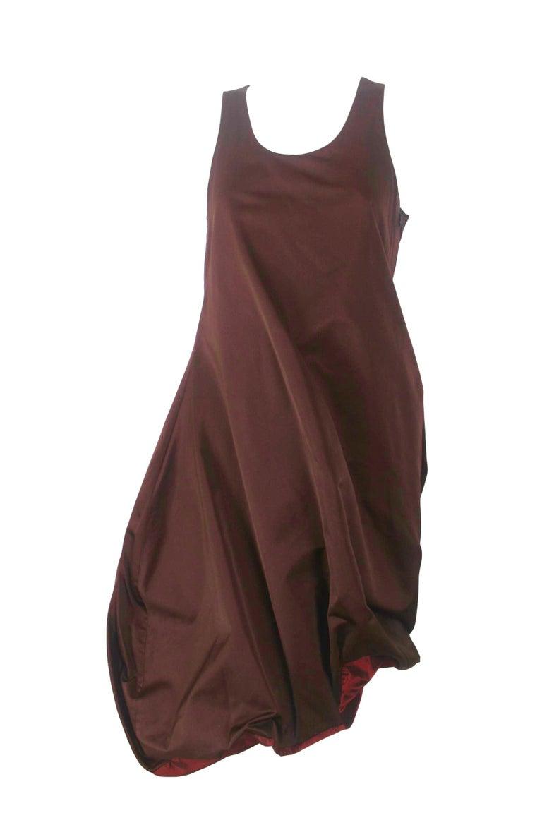Brown Jean Paul Gaultier Classique Label Bronze Satin Balloon Dress Spring/Summer 2003 For Sale