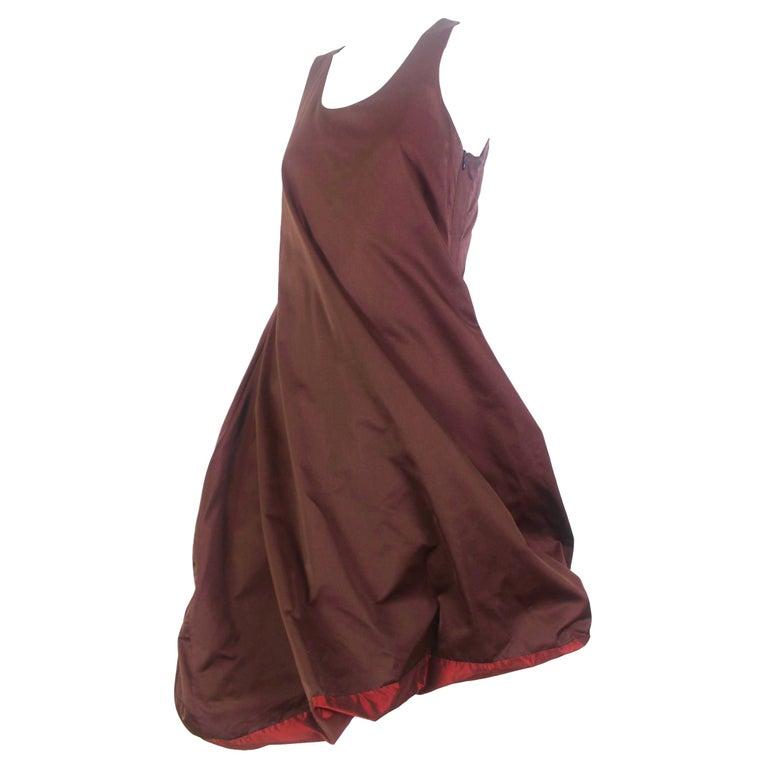 Jean Paul Gaultier Classique Label Bronze Satin Balloon Dress Spring/Summer 2003 For Sale