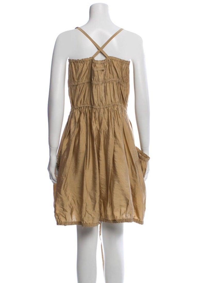 Brown Jean Paul Gaultier Classique Silk Dress, zippers and drawstrings